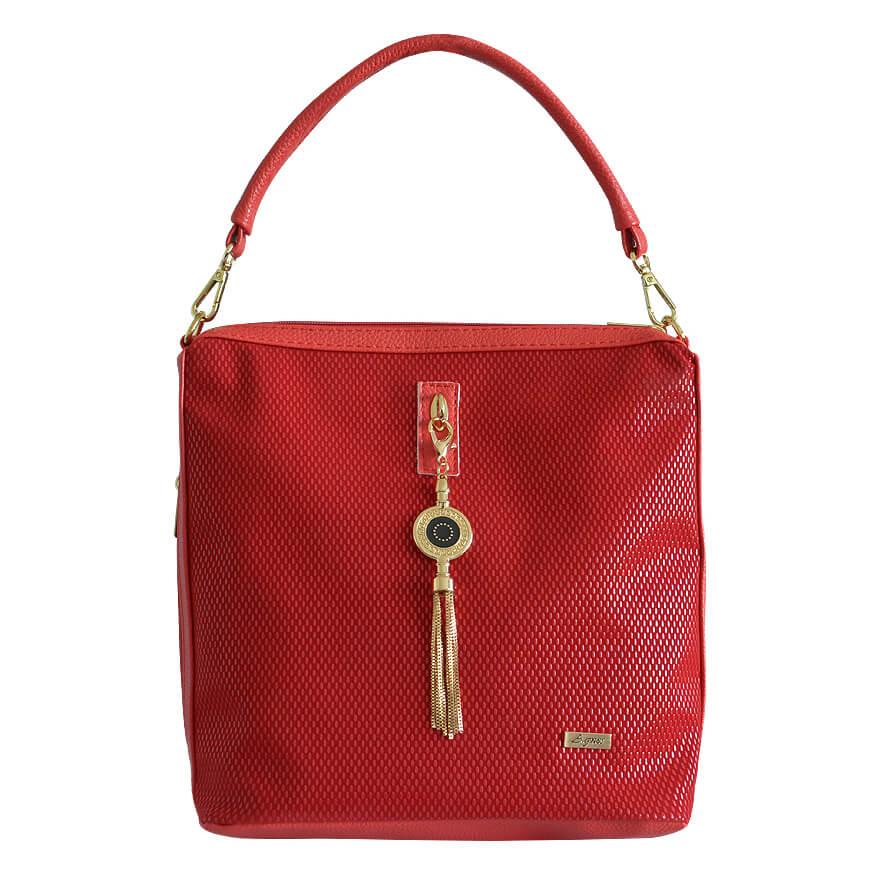 e29a600249 Detail produktu Červená kabelka cez plece so zlatými doplnkami