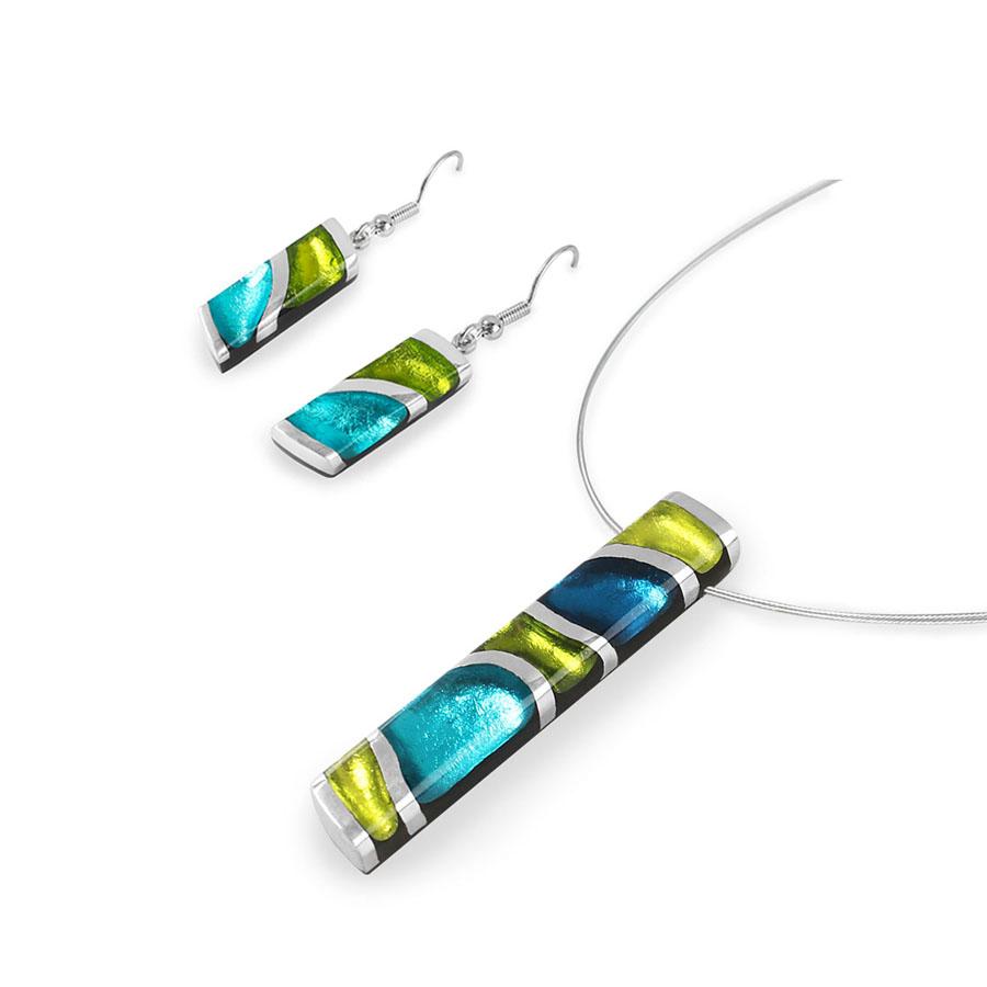 480a8c0e1 Limetkovo-tyrkysový set náhrdelník s náušnicami Magma